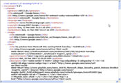 Here's the XML code generated by the Google News RSS feed; in this case for a customized ''Microsoft'' feed.