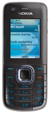 The Nokia 6212's near field communication (NFC) capability lets users swap items like business cards or calendar notes simply by tapping their handsets together.