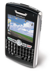 The BlackBerry 8820 smartphone features built-in GPS and support for T-Mobile's HotSpot @Home service for Wi-Fi calling.