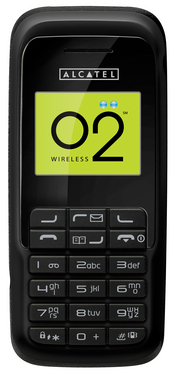 The Alcatel E206A handset is stripped down to basic functionality for the pre-paid services customers of Locus Telecomm and O2 Wireless.