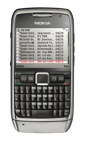 The Nokia E71 has a QWERTY keyboard, 3G wireless access, and a front-facing camera for video calls.