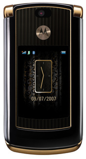 The Motorola Razr 2 V8 Luxury Edition is 18K gold-plated and covered in snake-like skin, with a diamond-cut pattern on the phone's surface.
