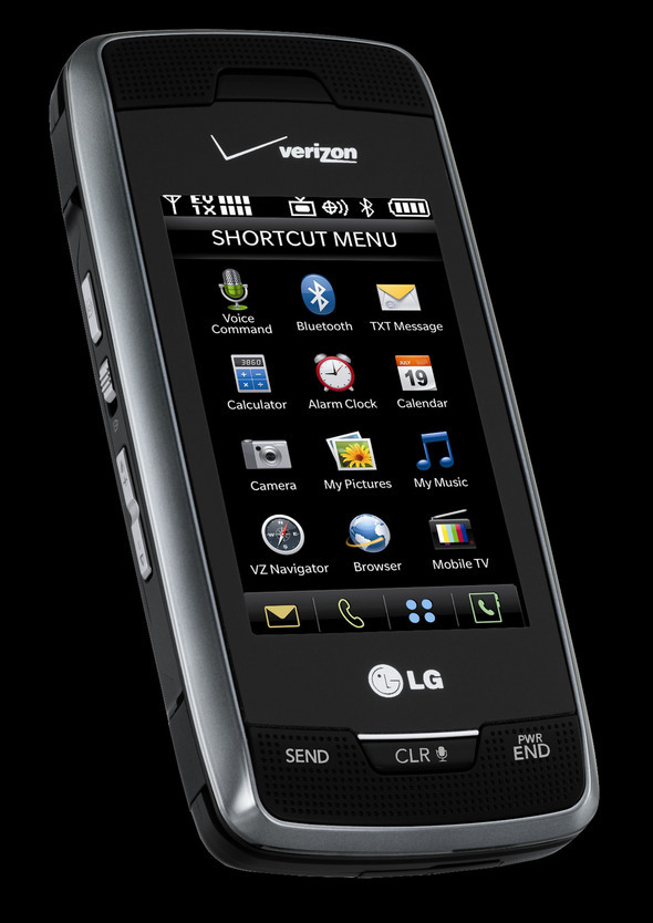 The Voyager by LG sports a large external touch screen and opens laterally to reveal a full keypad.