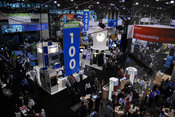 Overhead view of the Interop exhibition floor.