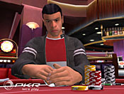 A PKR.com player shows a classic poker face when viewing his cards.