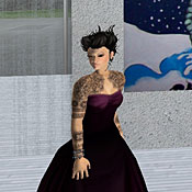 Eshi Otawara, the Second Life avatar of Irena Morris, and one of her real-life paintings. Morris is fighting deportation due to a U.S. immigration law known as the