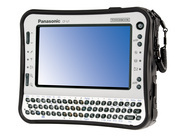The CF-U1, the first ultra-mobile PC in the Toughbook product line, is 7 inches wide, 6 inches deep, and 2 inches high.