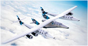 Sir Richard Branson's latest sub-space ship is a white, four-engine plane expected to undergo flight tests later this year.