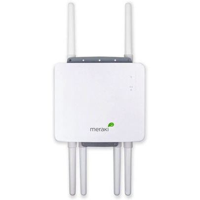 The MR58 is designed for outdoor use, is weatherproof, and has three radios that can be used for backhaul, front-end networking, and meshing with other networks.