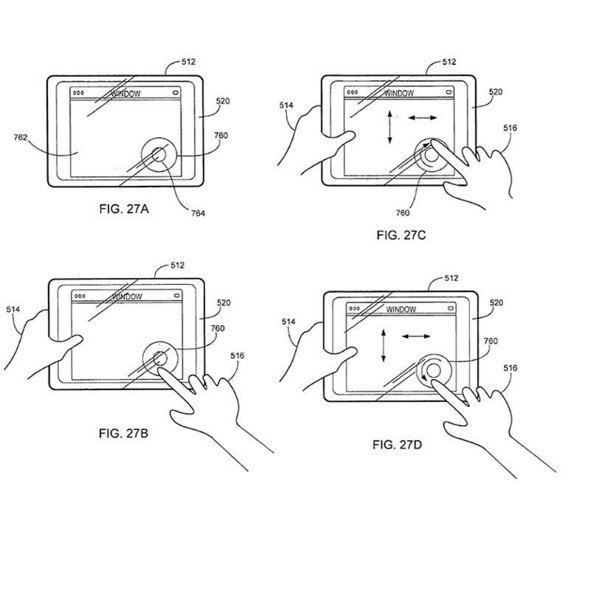 The 52-page diagram shows gestures on the touch screen associated with a number of tasks, including zooming, panning, scrolling, rotating, enlarging, and floating controls.