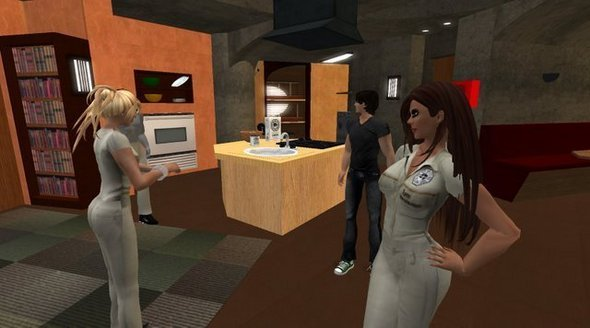 Getting ready for a meeting of SL-Lost, a Second Life fan club for the TV show <i>Lost.</i> We're hanging around in a reproduction of the show's underground research station, the Swan. That's Samantha Kuncoro on the right, one of the group's leaders. She's Karen Fuller of Syracuse, N.Y., in real life.