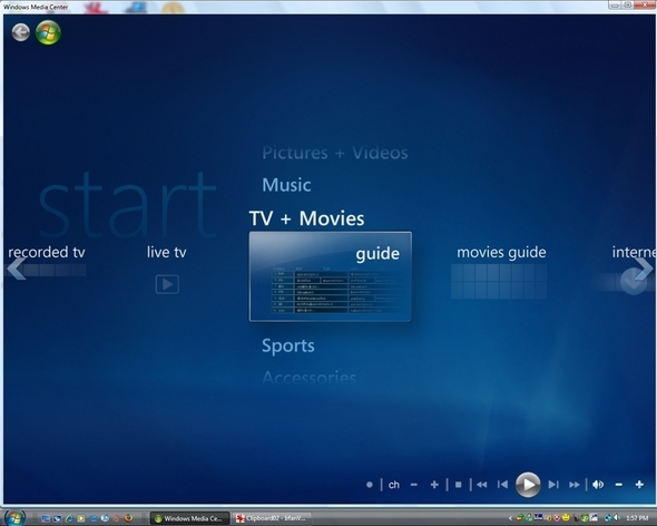 Windows Media Center, standard in Vista Home Premium and Ultimate, turns your PC and TV into a home media center.