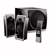 The Logitech Z Cinema surround-sound speaker system was designed expressly with media center PCs in mind. It also comes with a full-size remote.