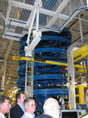 Tires come down this spiral-shaped machine, sequenced and ready for assembly with vehicles as they come down the line.