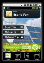 Ecorio runs in the background on your phone, keeping track of your movements and tallying up the trips that you take each day.