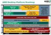 Along with new processors, AMD's desktop roadmap indicates improvements to its HyperTransport processor I/O technology and to graphics support.