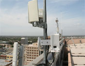 Up on the roof: WiFi antennaes atop the roof of Anaheim's city hall. -- Photo by Gilles Mingasson/Getty Images