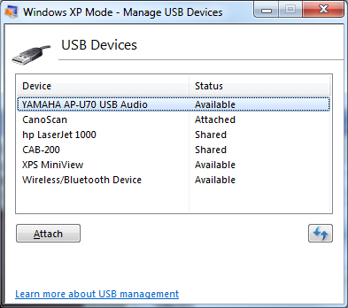 A list of attached USB devices available to programs running in 32-bit XP Mode. Note that a device does not need to have a driver to be visible to XP Mode.