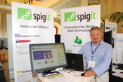 Spigit shows off its enterprise social networking tool to attendees at the 2009 InformationWeek 500 conference.