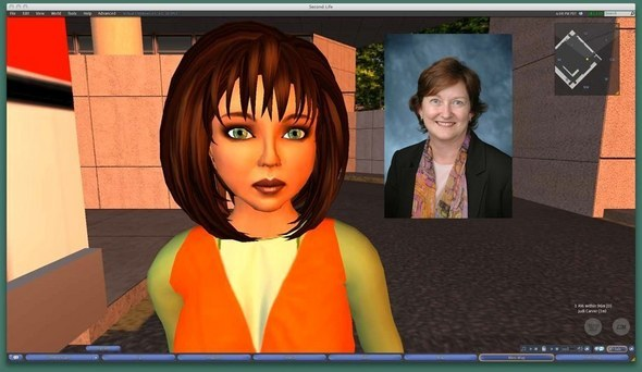 Judi Smith heads up training in Second Life for Children's Memorial Hospital in Chicago. Here she is with her Second Life avatar,