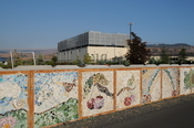 A decorative mural along the walking path that runs adjacent to Google's complex.