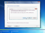 Odds are, Windows 7 will have mass storage device drivers available for your computer. If not, you'll need to provide them manually. CDs, floppies, and even flash drives can be used now to supply such drivers. Remember to click