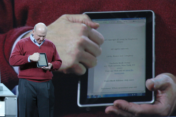 Microsoft Chief Executive Steve Ballmer has introduced a slate PC the software maker has developed with partner Hewlett-Packard. HP and Microsoft unveiled the device in advance of Apple's tablet PC, widely expected to be announced in late January. Apple has yet to confirm its working on such a product.