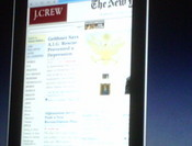 Screen shot of the tablet looking at web pages.