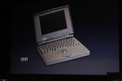 Jobs makes a comparison to the first Apple laptop.