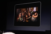 Apple CEO Steve Jobs plays one of his favorite movies on the iPad.