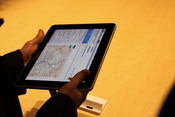 Up close: the iPad displaying its map capabilities.