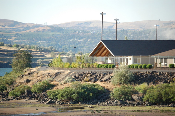 Google building on bank of Columbia River.