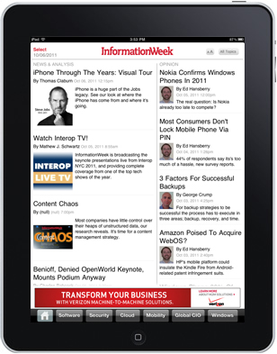 InformationWeek Select iPad App screenshot