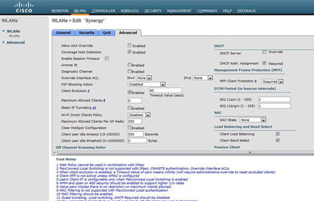 Cisco WLANs screenshot