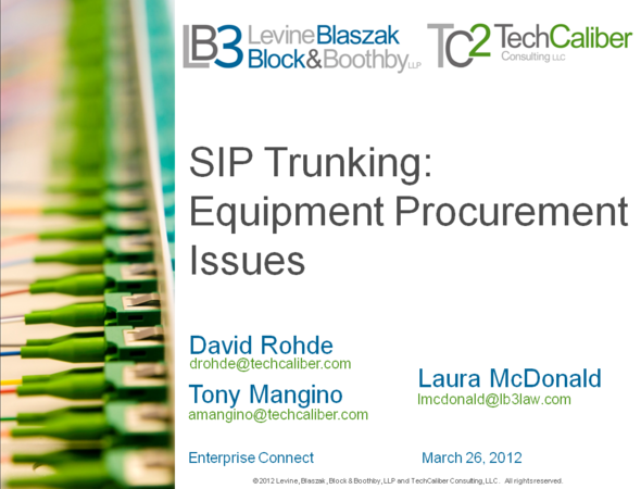Equipment Procurement for SIP Trunks