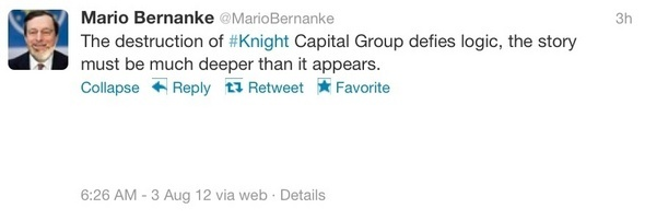 Knight Capital Sets Twittersphere Afire, Just After #Knight Burns Itself