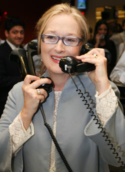 Actress Meryl Streep on the phones helping to raise money on the trading floor during ICAP´s 16th annual global Charity Day on December 10, 2008.