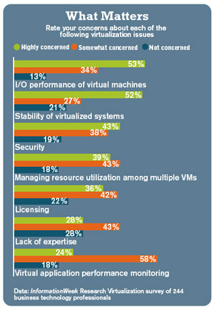 chart: Rate your concerns about each of the following virtualization issues