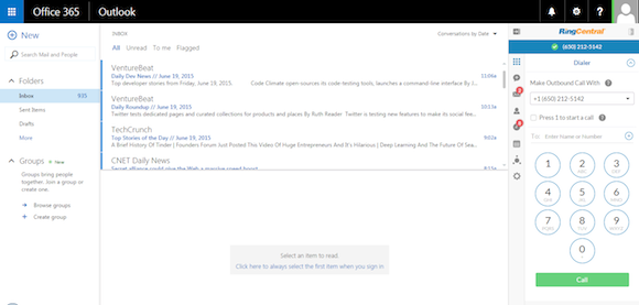 RingCentral Brings Click to Call to Outlook in Office 365